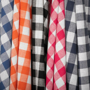 Gingham 1quot; Wide Square Fabric 60quot; Wide Checkered Plaid Pattern By The Yard $7.99