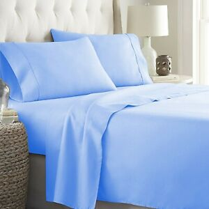 Prime Sheet Collection Choose Item Size 1000 TC Egyptian Cotton Sky Blue Solid