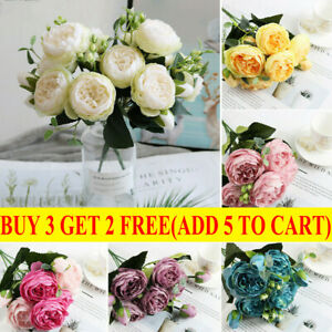 5 Heads Artificial Flowers Silk Peony Bouquet Fake Rose Wedding Home Party Decor $7.99