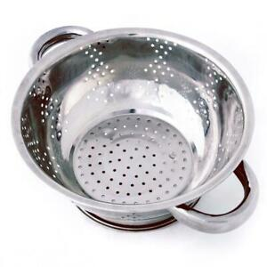 Small Stainless Steel 1 Qt. Kitchen Colander 8 Diameter with Handles
