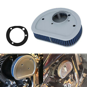Motorcycle Air Filter Cleaner Element Replacement Blue Intake Fit For Harley $29.13