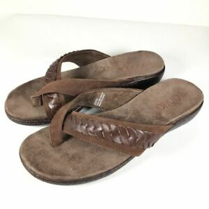 Antia Womens Leather Braided Thong Sandals size 6.5 W Wide $30.74