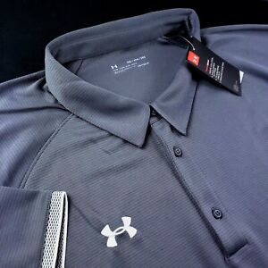 Under Armour Golf Polo Shirt 5XL Performance Mens Loose Fit Solid Gray White $44.99