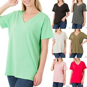 Womens Cotton Tunic Top Loose Casual V Neck Short Sleeve T Shirt Long Blouse $11.90