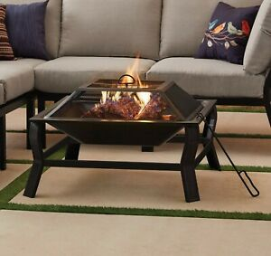 """Mainstays Greyson 30"""" Square Wood Burning Fire Pit with Mesh Screen NEW FREESHIP $65.99"""