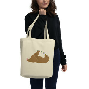 Funny Bear Loves Cosmos Flower Eco Tote Bag $26.50