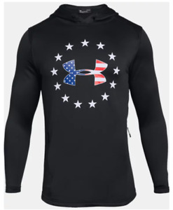 Under Armour Hoodie Mens Authentic USA Freedom Tech Terry Black Sweatshirt $41.99