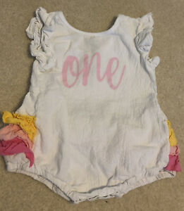 One Year Old Fly Sleeve Romper Girls Infant Size 12M. Adorable