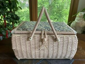 Vintage Wicker Sewing Basket With Tapestry Cushion Lid amp; Handles LARGE $24.99