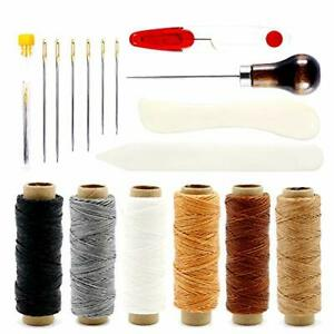 Leather Sewing Kit 6 Color Waxed Thread with 3 Sizes Large Eye Sewing $15.93