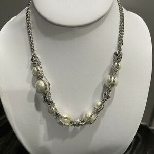 Givenchy Silver Tone Faux Pearl Necklace with Rhinestones $39.95