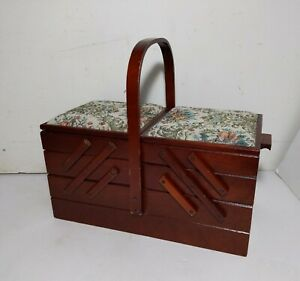 Vintage Accordion Fold Out Wood Sewing Box Needlepoint Cushion $55.00
