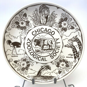 Vintage Brookfield Zoo Chicago Zoological Society Collector Plate Brown