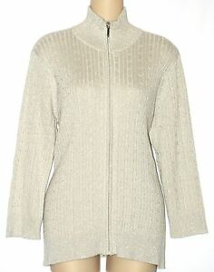 Chaps Silver Lurex Zip Front Cardigan Sweater Womans Plus Size 1X NEW $85