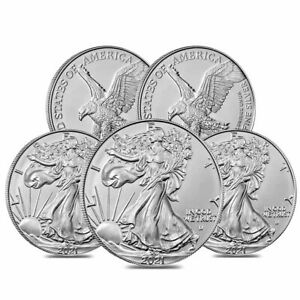 Lot of 5 2021 1 oz Silver American Eagle $1 Coin BU Type 2 $176.80