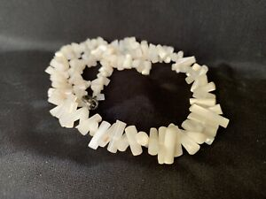 Vintage Mother of Pearl Choker Necklace Carved MOP Bead Necklace 16.5 x .5 $21.00
