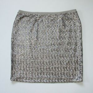 NWT J. Jill Sequined Knit Pencil in Sterling Gray Sequin Pull on Skirt XL $30.40