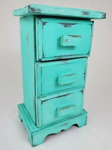 Vintage Spice Apothecary Cabinet Sewing Box Wooden 3 Drawer Primitive Farmhouse $75.00