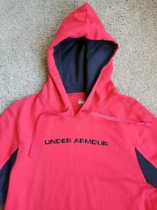 UNDER ARMOUR COLD GEAR HOODIE MEDIUM CHARGED COTTON STORM RED amp; BLACK $29.99