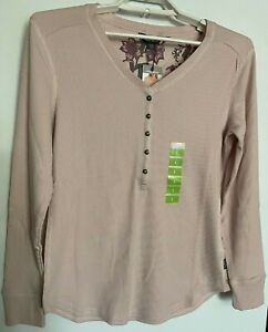 New Womens Eddie Bauer V Neck Thermal Knit Henley Top Long Sleeve Large $19.99