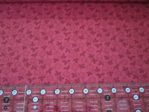 100% Cotton Fabric Nifty Floral Vines Flowers on Leafy Vines Dark pink fabric