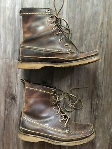 Red Wing J Crew Wabasha 4592 Men#x27;s Used Boots 8 USA BROWN LEATHER RARE