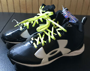 Under Armour Cleats size 3.5 youth Armour Bound New with extra laces Black white