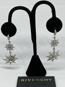 Givenchy Silver Tone Crystal Star Double Drop Earrings MSRP $68 CP672 $19.99