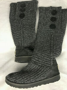 UGG Classic Women#x27;s Size 8 Tall Gray Knit Button Side Boots 1876
