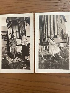 Pair Antique Photographs Girl Bicycle Boy Uniform Mother Victorian American Flag $4.00