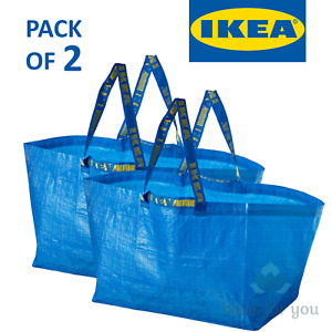 2x IKEA Bag Blue Large Size 19 gallon Shopping Laundry Grocery Bag Durable