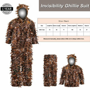 Invisibility Ghillie Suit Sniper 3D Leaf Hooded Hunting Clothes Woodland Jungle