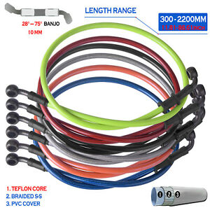 300 2200mm 28° 75° Braided Motorcycle Brake Line Hose Oil Clutch Pipe Cable Rear $11.57