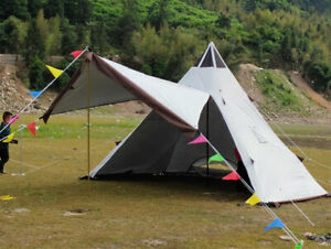 5 8 Person Double Layers Anti Hard Rain Pyramid Camping Outdoor Tent With Canopy $360.00