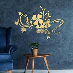 Mirror Wall Stickers Self Adhesive DIY Removable Mirror Plastic Flower Golden