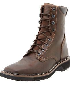 JUSTIN MEN#x27;S STAMPEDE SQUARE TOE LACE UP WORK BOOTS SOFT TOE 681