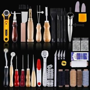 Leather Sewing Kit Craft Tool Set Hand Sewing Awl Stitching Punch Carving Saddle $27.07