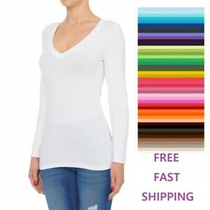 Women#x27;s V neck Long Sleeve T Shirt Basic Top Free Shipping and Fast Shipping