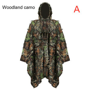 Outdoor Tactical 3D Leaf Woodland Cloak Camo Hunting Clothes Jungle Ghillie Suit