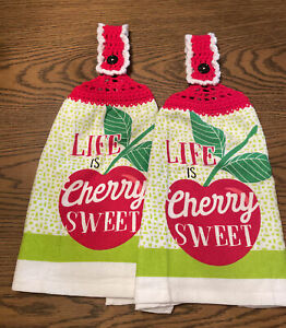 2 Double Sided Crocheted Top Life Is Cherry Sweet Dish Hanging Towels