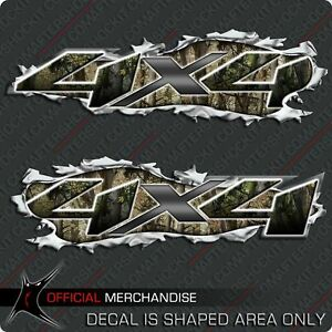 4x4 Camouflage Truck Decal Ripped Metal Torn Style Hunting Sticker for Chevy