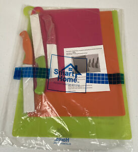 Smart Home 6 pc set 3 Colorful Cutting Mats with 3 Matching Knives New Sealed