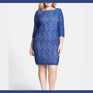 NWD Adrianna Papell Lace Overlay Sheath Dress Blue UNKNOWN SIZE 1X 2X #S76 $59.99