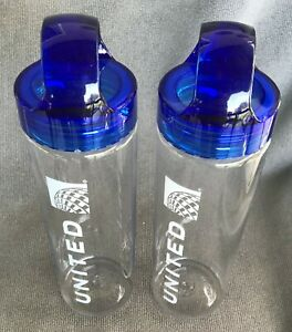 TWO United Airlines Water Bottles Clear Plastic BPA Free Blue Screw Top 16 Ounce