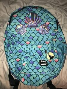 DISNEY LOUNGEFLY ARIEL THE LITTLE MERMAID HOLOGRAPHIC SEA SHELL BACKPACK NWT
