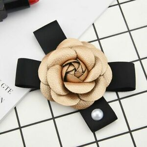 Brooches Big Leather Camellia Pearl Rose Flower Hair Accessories Women