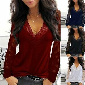 ⭐⭐⭐⭐⭐Women#x27;s Lace V Neck T Shirt Loose Casual Blouse Long Sleeve Summer Tops $16.09