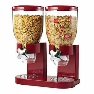 Honey Can Do Double Cereal Dispenser with Portion Control Red and Chrome