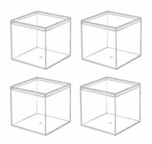 Dedoot Clear Acrylic Plastic Square Cube 4 Pack Small Plastic Storage Box wit... $22.90