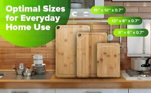 Bamboo Cutting Board With Juice Groove 3 Pcs set Large Cutting Board Set
